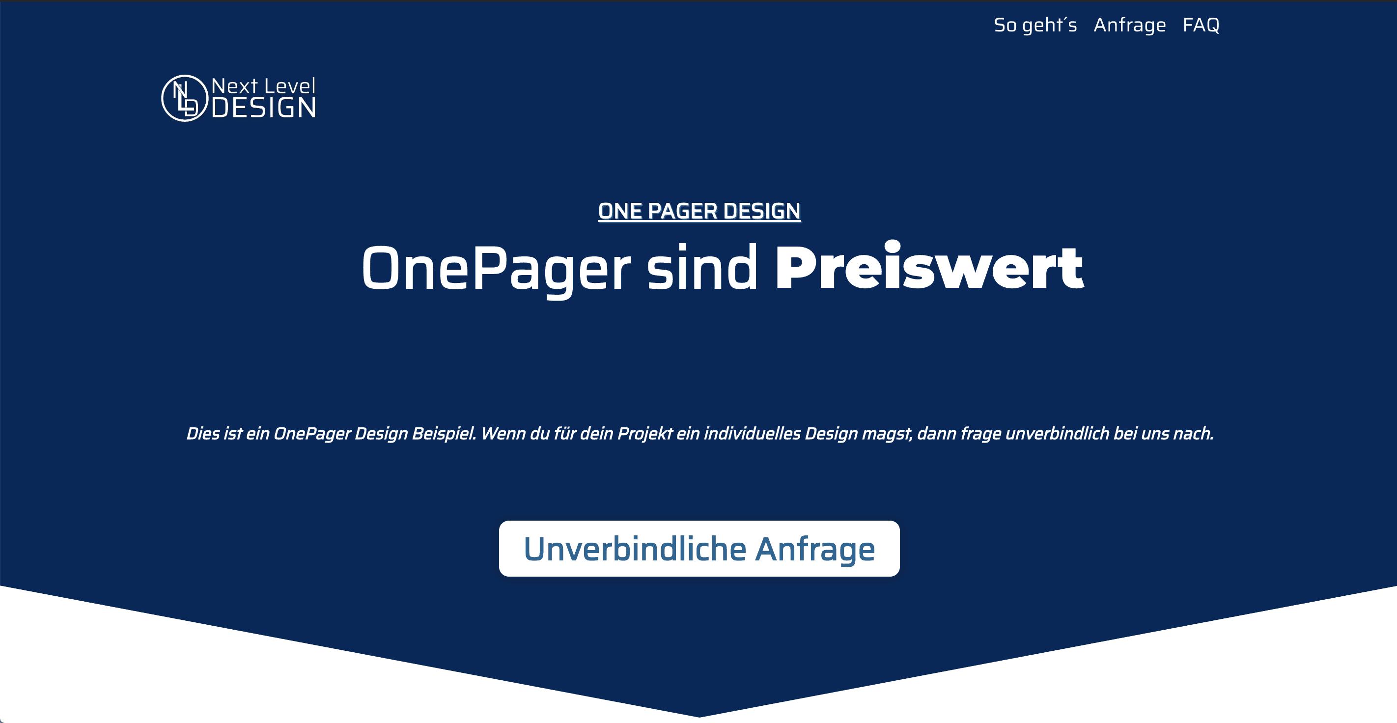 OnePage Design Beispiel